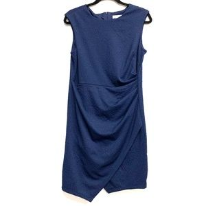 London Times Navy Ruched Side Sleeveless Dress